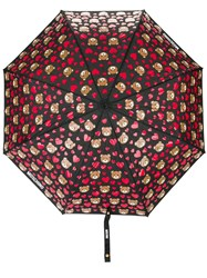 Moschino Bear And Heart Print Umbrella Black