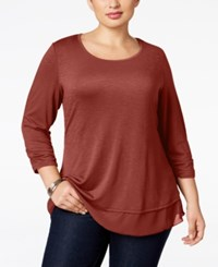 Style And Co Plus Size Chiffon Hem Top Only At Macy's Cabin Red