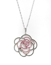 Lord And Taylor Pave Flower Pendant Necklace Pink