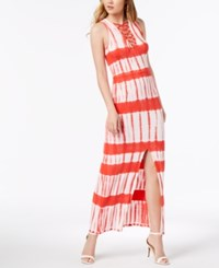 Material Girl Juniors' Printed Lace Up Maxi Dress Red White Tie Dye