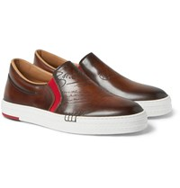 Berluti Scritto Palermo Polished Leather Slip On Sneakers Brown