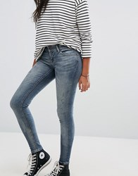 Only Carrie Low Rise Skinny Jeans Medium Blue Denim