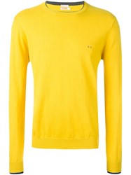 Sun 68 Contrast Neck Jumper Yellow Orange