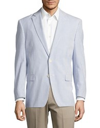 Lauren Ralph Lauren Seersucker Suit Jacket Blue White