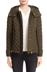 Burberry Women's Brit 'Leightonbury' Quilted Hooded Jacket Dark Olive