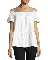 Red Valentino Smocked Off The Shoulder Short Sleeve Blouse White
