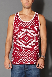 Forever 21 Tribal Print Tank Red White