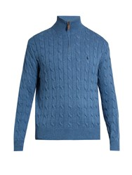 Polo Ralph Lauren High Neck Cable Knit Cotton Sweater Blue