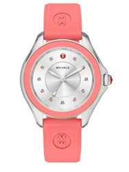 Michele Cape Pink Topaz Stainless Steel And Silicone Strap Watch Pink Pink Silver