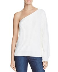 Olivaceous One Shoulder Sweater White