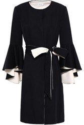 Milly Woman Belted Fluted Cady Coat Black