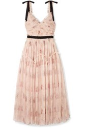 Needle And Thread Think Of Me Embellished Satin Trimmed Floral Print Tulle Midi Dress Blush