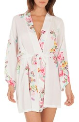 In Bloom By Jonquil Floral Print Robe Ivory Ground Aqua Rose Print