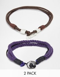 Asos Rope And Cord Bracelet Pack In Navy Navy Blue