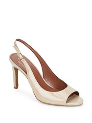 Cole Haan Juliana Peep Toe Patent Leather Slingbacks Maple Sugar