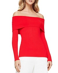 Bcbgmaxazria Risa Ribbed Off The Shoulder Sweater Red Berry