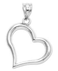Macy's 14K White Gold Charm Open Heart Charm