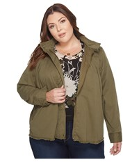 Lucky Brand Plus Size Military Jacket Olive Night Women's Coat Green