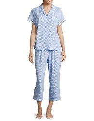 Karen Neuburger Ditsy Print Short Sleeve Pajama Set Blue
