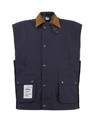 Vetements Contrast Collar Reversible Gilet Blue