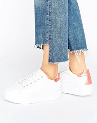 Asos Dusky Chunky Lace Up Trainers White Pink
