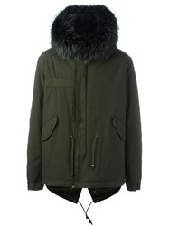 Mr And Mrs Italy Mini Army Fur Trim Parka Green