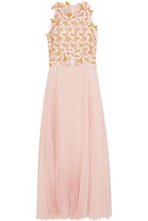 Giambattista Valli Guipure Lace And Pleated Silk Chiffon Midi Dress Pink