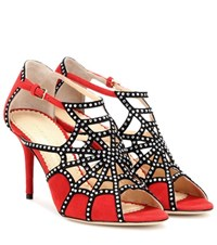 Charlotte Olympia Lotte Crystal Embellished Suede Sandals Red
