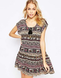 Kiss The Sky Ubud Dress With Tie Front Multi