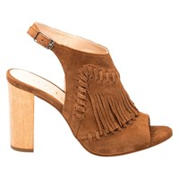 Unisa Wome Fringe Block Heeled Sandals Walnut
