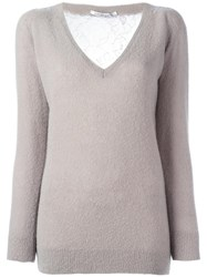 Agnona V Neck Jumper Nude Neutrals