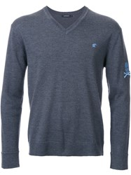 Loveless V Neck Fine Knit Jumper Grey