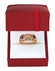 Levian Chocolatier 0.54Tcw Vanilla Diamonds Peach Morganite Raspberry Rhodolite And 14K Rose Gold Ring Pink