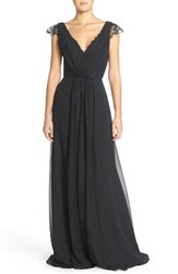 Hayley Paige Occasions Women's Lace And Chiffon Cap Sleeve Gown