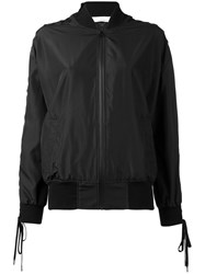 A.F.Vandevorst Laced Sleeve Bomber Jacket Women Polyester 40 Black