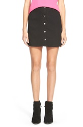 Lush Button Front A Line Skirt Black