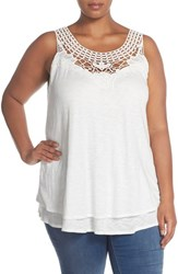 Plus Size Women's Caslon Embroidered Lace Yoke Tank Ivory Cloud