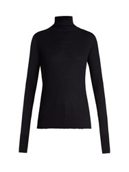 Raey Roll Neck Ribbed Fine Knit Cashmere Sweater Navy