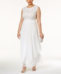 R And M Richards Plus Size Embroidered Lace A Line Gown Ivory Taupe