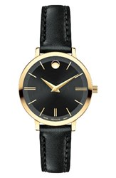 Movado Women's Ultra Slim Leather Strap Watch 28Mm