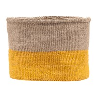 The Basket Room Ghafla Colour Block Hand Woven Grey Yellow Grey Yellow