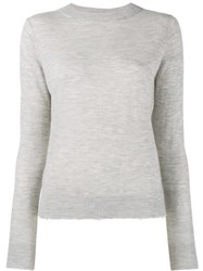 Vince Frayed Edge Crew Neck Jumper Grey