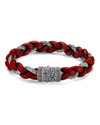 John Hardy Men's Classic Chain Braided Leather Cord Bracelet Red