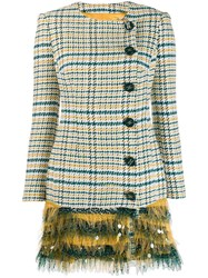 Elisabetta Franchi Checkered Fitted Coat Green