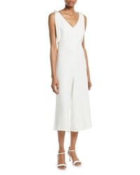 Cynthia Steffe V Neck Cropped Wide Leg Jumpsuit White