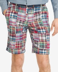 Izod Men's Patchwork 9.5' Flat Front Shorts Ribbon Red