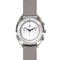 Mhd Watches Cr1 Chronograph Watch With White Dial And Milanese Strap Metal Black White Silver