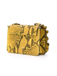 Red Valentino Snake Embossed Shoulder Bag Yellow