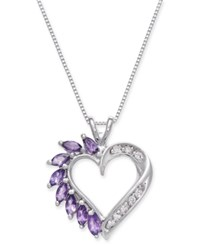 Macy's Amethyst 3 4 Ct. T.W. And Diamond Accent Heart Pendant Necklace In 14K White Gold