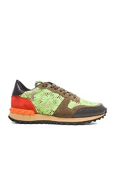 Valentino Rockstud Suede And Lace Trainers In Green Neon Floral